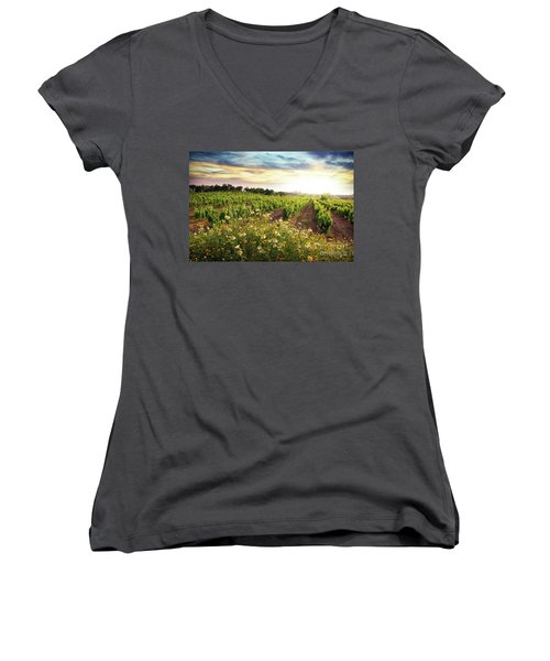 Vineyard Women's V-Neck T-Shirt (Junior Cut) by Carlos Caetano
