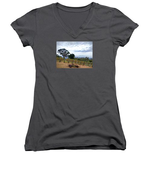 Women's V-Neck T-Shirt (Junior Cut) featuring the photograph Vineyard Over The City by Haleh Mahbod
