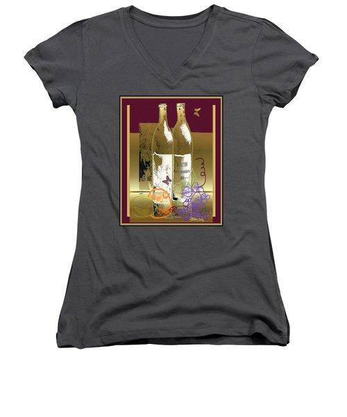 Vin, Fruit, Et Papillons Women's V-Neck