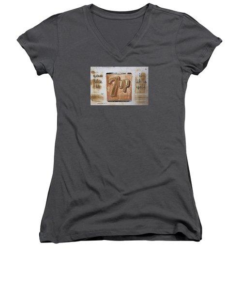 Vintage 7 Up Sign Women's V-Neck T-Shirt