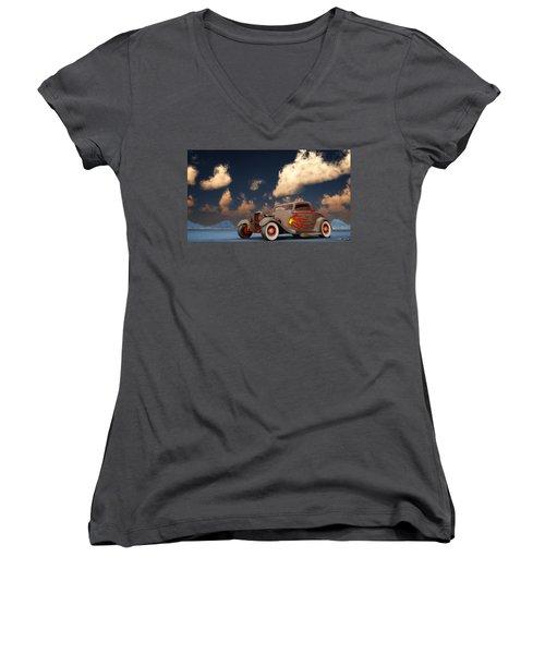Vintage American Hot Rod Women's V-Neck T-Shirt (Junior Cut) by Ken Morris