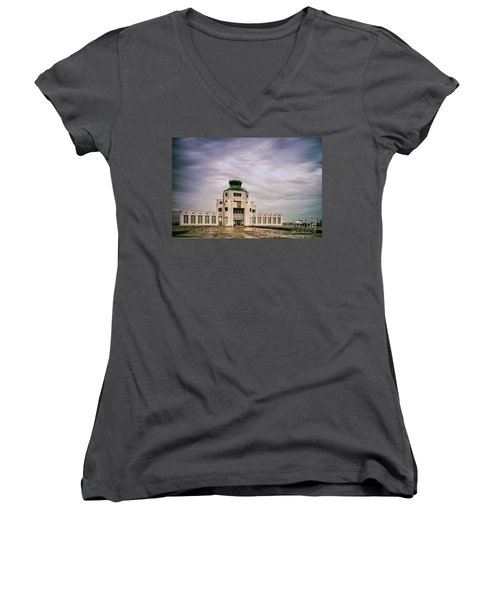 Vintage Architectural Photograph Of The 1940 Air Terminual Museum - Hobby Airport Houston Texas Women's V-Neck (Athletic Fit)