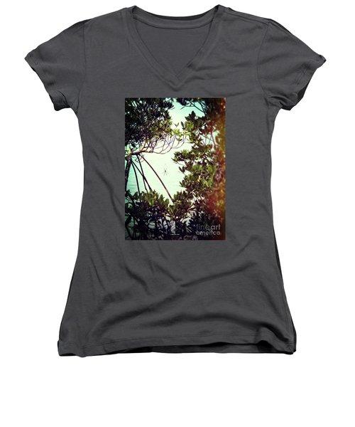 Women's V-Neck T-Shirt featuring the digital art Vintage Banana Spider by Megan Dirsa-DuBois