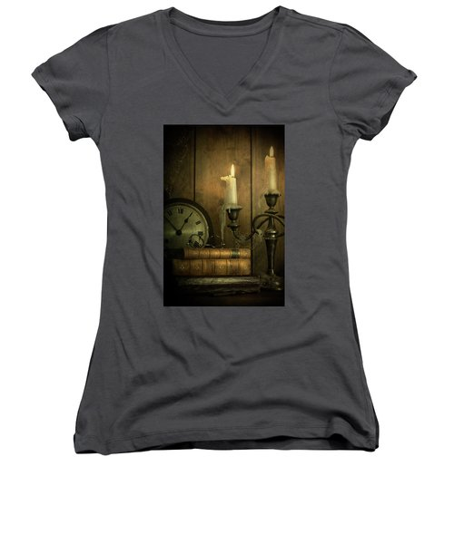 Vintage Books With Candles And An Old Clock Women's V-Neck T-Shirt
