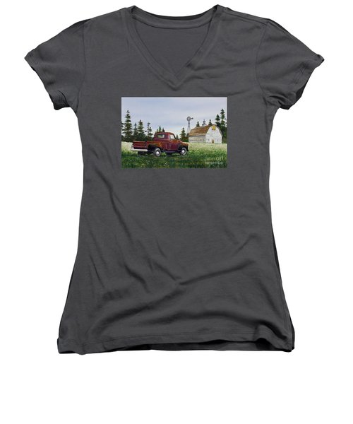 Women's V-Neck T-Shirt (Junior Cut) featuring the painting Vintage Country Pickup by James Williamson