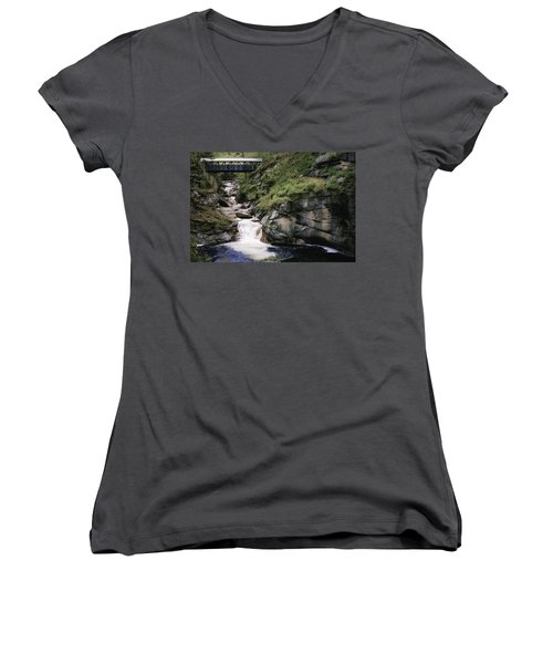 Vintage Covered Bridge And Waterfall Women's V-Neck (Athletic Fit)