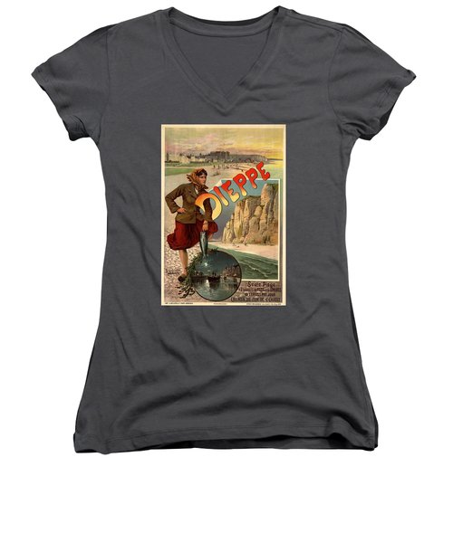Vintage Dieppe Advertisement Women's V-Neck T-Shirt (Junior Cut) by Andrew Fare