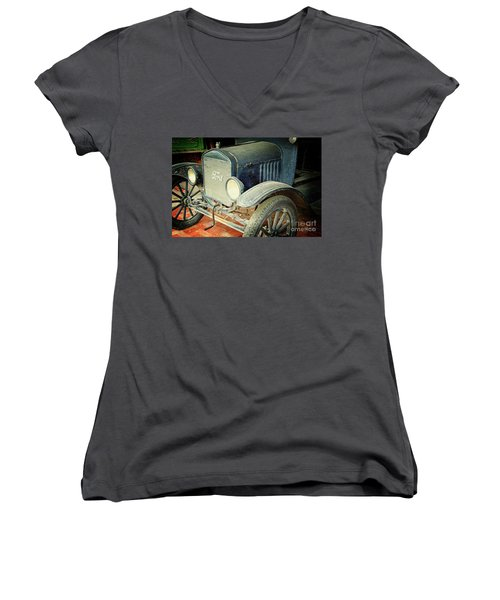 Vintage Ford Women's V-Neck T-Shirt (Junior Cut) by Inspirational Photo Creations Audrey Woods
