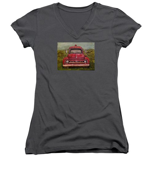 Women's V-Neck T-Shirt (Junior Cut) featuring the painting Vintage  Ford Fire Truck by Belinda Lawson