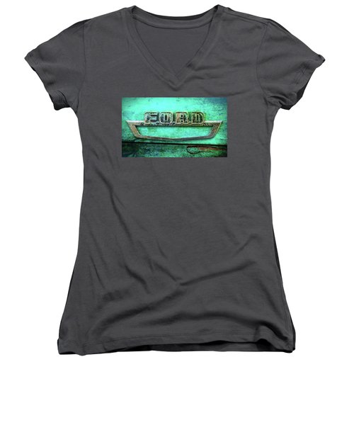 Women's V-Neck T-Shirt (Junior Cut) featuring the photograph Vintage Ford Truck Logo  by Terry DeLuco