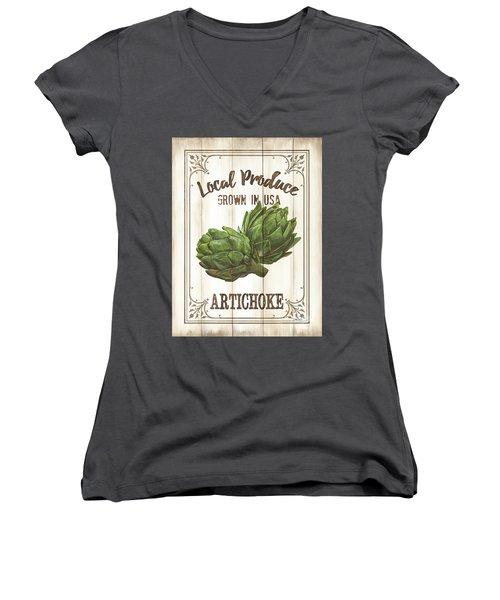 Vintage Fresh Vegetables 2 Women's V-Neck T-Shirt (Junior Cut) by Debbie DeWitt