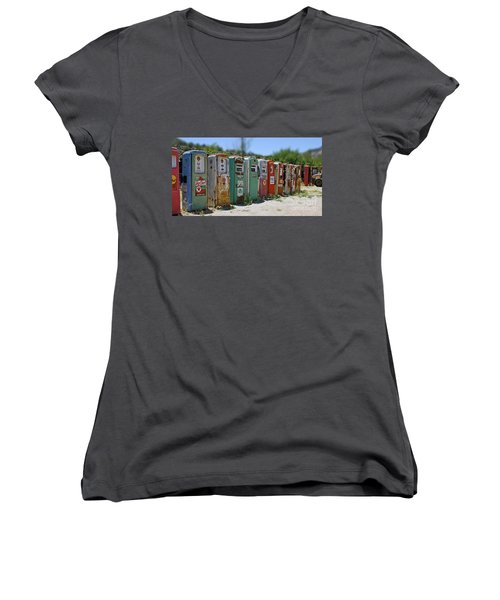 Vintage Gas Pumps Women's V-Neck