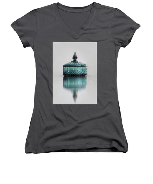 Vintage Glass Candy Jar Women's V-Neck T-Shirt