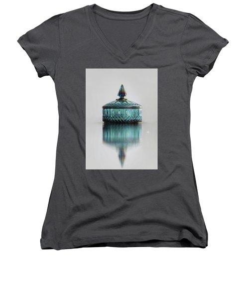 Vintage Glass Candy Jar Women's V-Neck T-Shirt