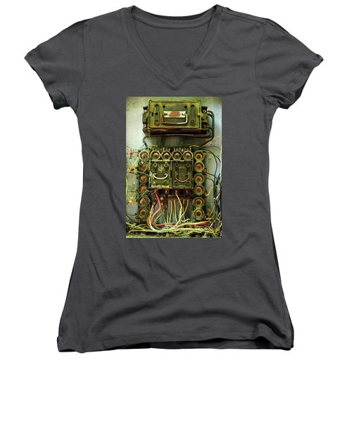 Vintage Household Fuse Box Women's V-Neck T-Shirt (Junior Cut) by Michael Eingle