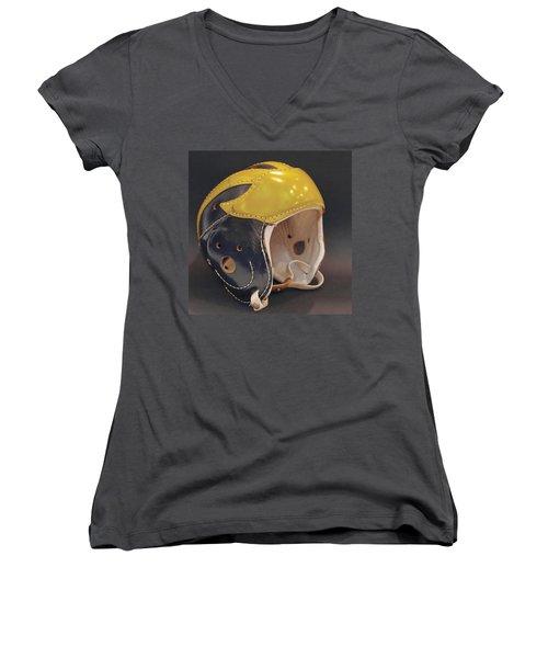Vintage Leather Wolverine Helmet Women's V-Neck