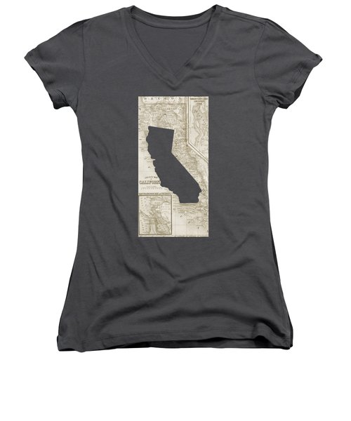 Women's V-Neck T-Shirt (Junior Cut) featuring the drawing Vintage Map Of California Phone Case by Edward Fielding