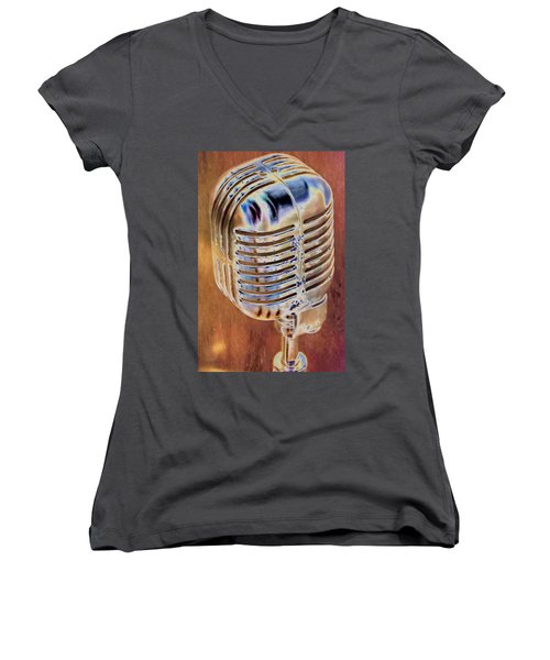 Vintage Microphone Women's V-Neck (Athletic Fit)