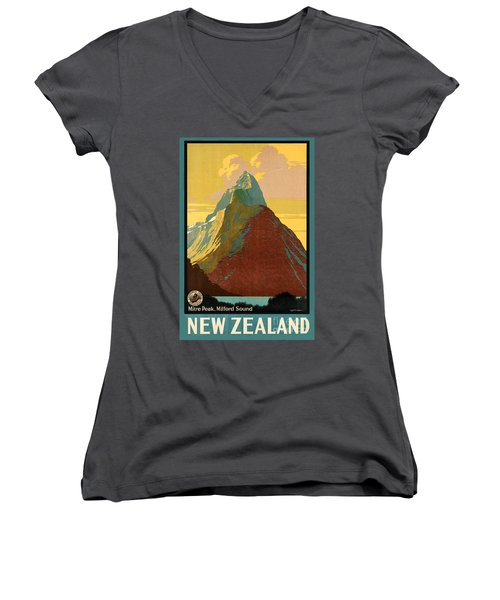 Vintage New Zealand Travel Poster Women's V-Neck T-Shirt
