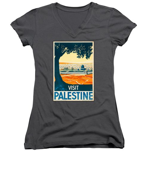 Vintage Palestine Travel Poster Women's V-Neck T-Shirt