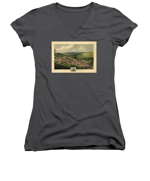 Women's V-Neck T-Shirt (Junior Cut) featuring the photograph Vintage Pottsville Pennsylvania Etching With Remarque by John Stephens