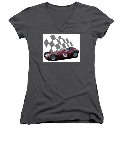 Vintage Racing Car And Flag 1 Women's V-Neck T-Shirt (Junior Cut) by John Colley