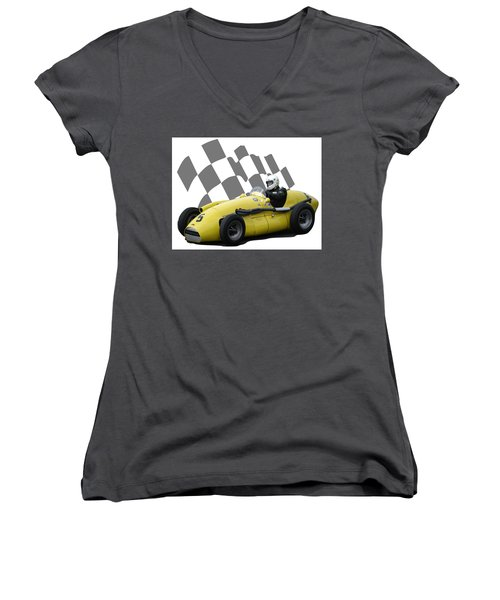Vintage Racing Car And Flag 4 Women's V-Neck T-Shirt (Junior Cut) by John Colley