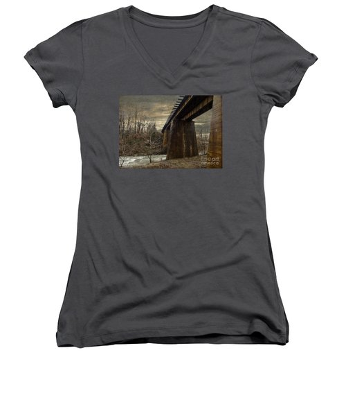 Women's V-Neck T-Shirt (Junior Cut) featuring the photograph Vintage Railroad Trestle by Melissa Messick