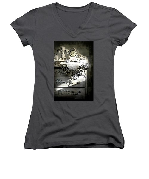 Women's V-Neck T-Shirt (Junior Cut) featuring the photograph Vintage Time by Diana Angstadt