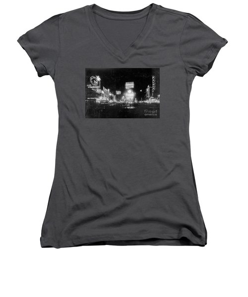 Women's V-Neck T-Shirt (Junior Cut) featuring the photograph Vintage Times Square At Night Black And White by John Stephens