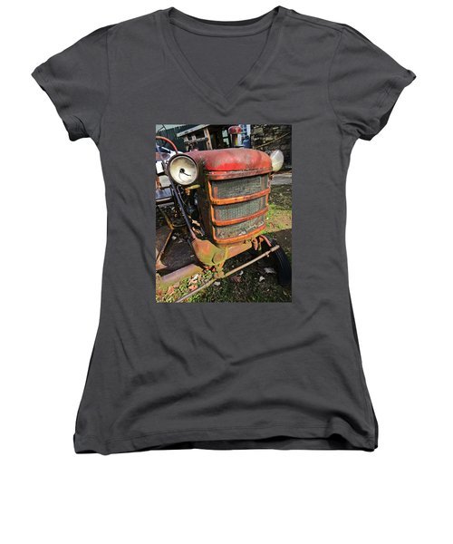 Vintage Tractor Mower Women's V-Neck (Athletic Fit)