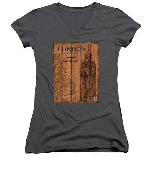 Women's V-Neck T-Shirt (Junior Cut) featuring the painting Vintage Travel London by Debbie DeWitt