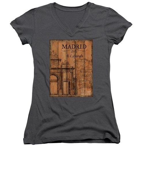 Women's V-Neck T-Shirt (Junior Cut) featuring the painting Vintage Travel Madrid by Debbie DeWitt