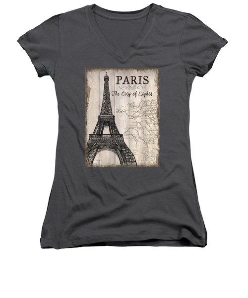 Vintage Travel Poster Paris Women's V-Neck T-Shirt (Junior Cut) by Debbie DeWitt
