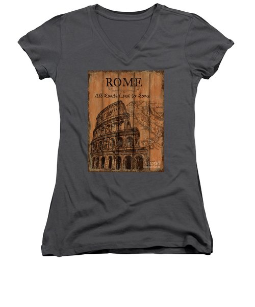 Women's V-Neck T-Shirt (Junior Cut) featuring the painting Vintage Travel Rome by Debbie DeWitt