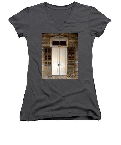 Vintage Tropical Weathered Key West Florida Doorway Women's V-Neck T-Shirt (Junior Cut) by John Stephens