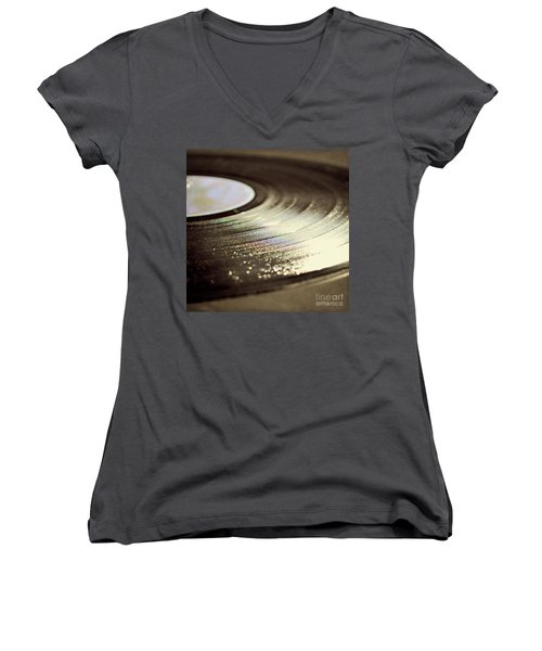 Vinyl Record Women's V-Neck T-Shirt (Junior Cut) by Lyn Randle