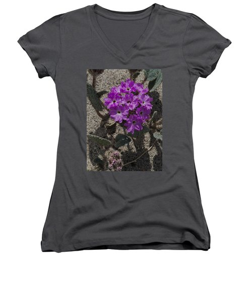 Women's V-Neck T-Shirt (Junior Cut) featuring the photograph Violets In The Sand by Jeremy McKay