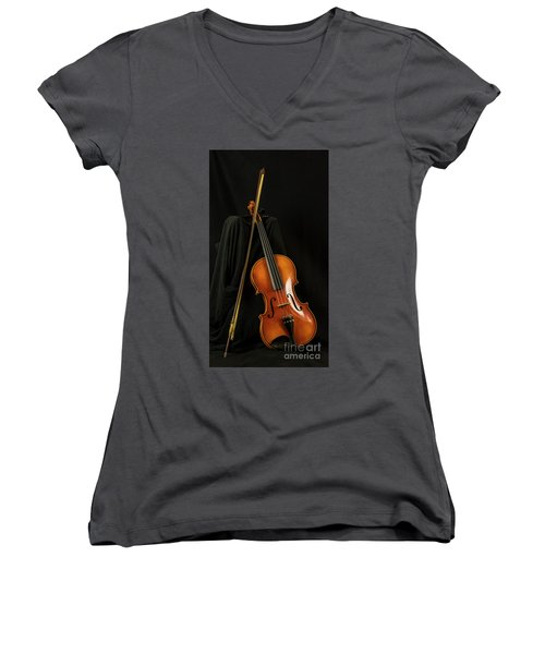 Violin And Bow Women's V-Neck