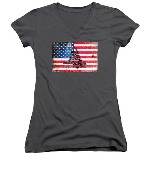 Viper N Bullet Holes On Old Glory Women's V-Neck T-Shirt (Junior Cut) by M L C