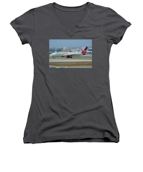 Women's V-Neck T-Shirt (Junior Cut) featuring the photograph Virgin Atlantic Boeing 787-9 G-vzig Los Angeles International Airport May 3 2016 by Brian Lockett