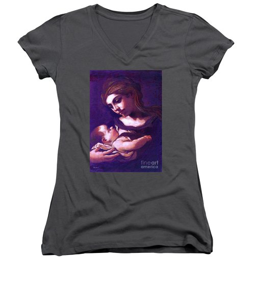 Women's V-Neck T-Shirt (Junior Cut) featuring the painting Virgin Mary And Baby Jesus, The Greatest Gift by Jane Small