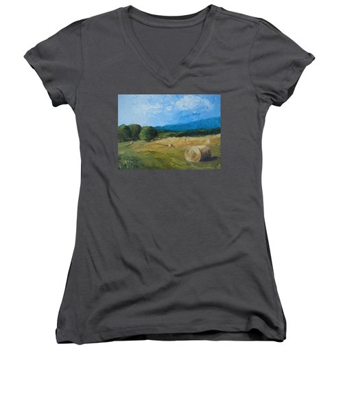 Women's V-Neck T-Shirt (Junior Cut) featuring the painting Virginia Hay Bales II by Donna Tuten