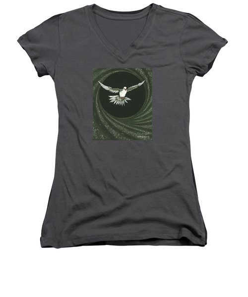 Viriditas-holy Spirit Detail Women's V-Neck T-Shirt (Junior Cut) by William Hart McNichols