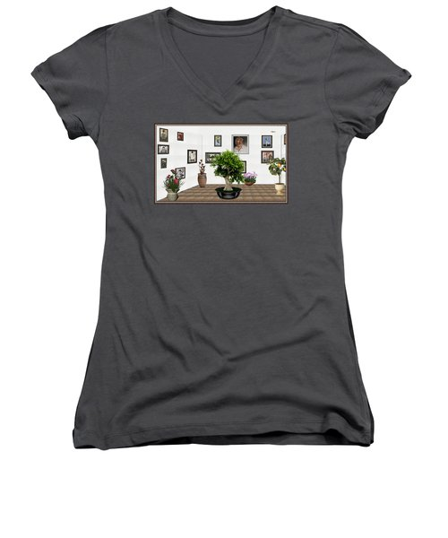 Women's V-Neck T-Shirt (Junior Cut) featuring the mixed media Virtual Exhibition -  Bonsai 13 by Pemaro