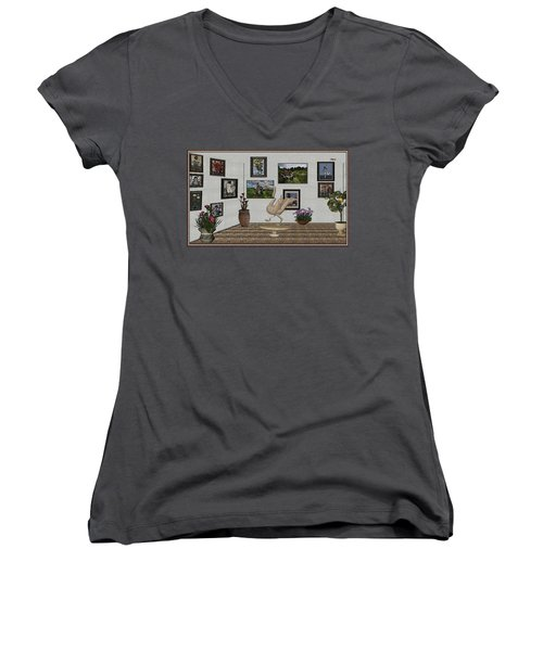 Women's V-Neck T-Shirt (Junior Cut) featuring the mixed media virtual exhibition_Statue of swan 23 by Pemaro