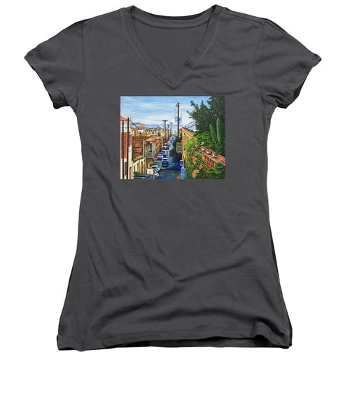 Women's V-Neck T-Shirt (Junior Cut) featuring the painting Visions Of Paradise Vii by Michael Frank