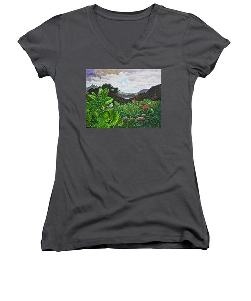 Women's V-Neck T-Shirt (Junior Cut) featuring the painting Visions Of Paradise Viii by Michael Frank