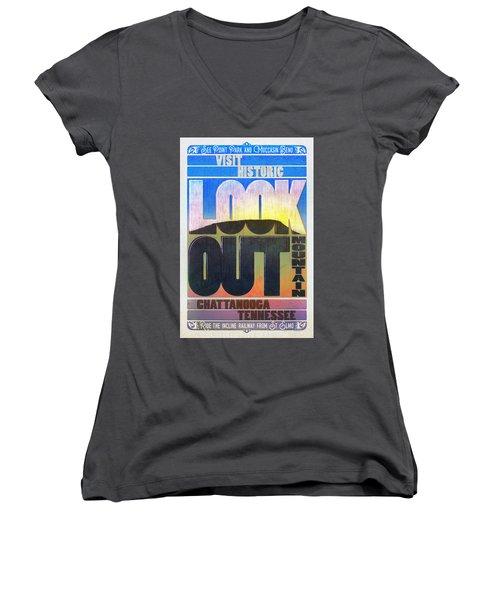 Visit Lookout Mountain Women's V-Neck T-Shirt (Junior Cut) by Steven Llorca