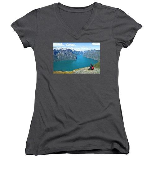 Visitor At Aurlandsfjord Women's V-Neck T-Shirt